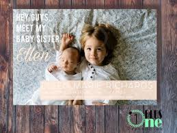 Sibling Birth Announcement Diy Printable Digital Download Custom Color Sibling Birth
