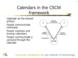 Augmenting Groupware with Intelligence  Supporting Informal       Calendars in the CSCW framework Calendar as the shared artifact People communicate informally People maintain