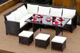 569 instead of 1460 from abreo for a nine seater rattan corner garden sofa and dining table set select either brown or grey and save 61