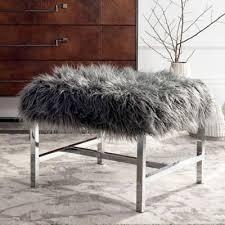 Safavieh Horace Faux Grey Sheepskin Bench In Polished Chrome