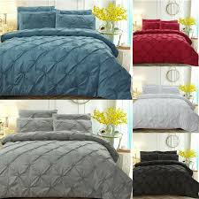 details about solid color plaid flower duvet cover bedding sets pillowcase twin queen king