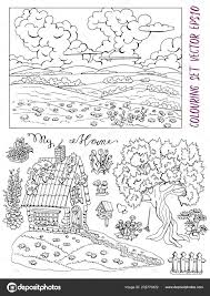 Kleurplaat Pagina Met Kleine Huisje Boom Bloemen Landschap Vogel