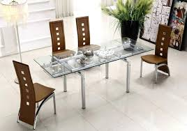glass dining room table set extendable clear glass top leather modern dining table sets with regard