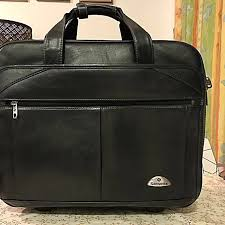 samsonite leather rolling laptop briefcase men s fashion bags wallets on carou