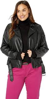 Womens Plus Size Faux Leather Moto Jacket With Studs