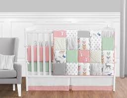 Coral, Mint and Grey Woodsy Deer Baby Bedding - 9pc Girls Crib Set by Sweet