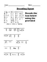 Hieroglyphics Decoding And Writing Worksheet