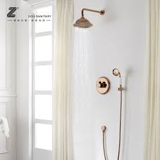 golden bathroom shower column faucet wall: rose gold classical bathroom solid brass wall mounted shower faucet set round shower water mixing valve