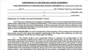 Example Of An Agreement Free 8 Confidentiality Agreement Form Samples In Sample