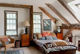 Tranquil Country Bedroom In Attic Interior With Retro Bedroom Furniture  Also Wood Beam Ceiling