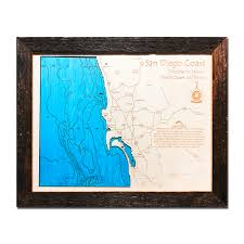 photo wood gem dallas. San Diego Coastline, CA Single-Depth Nautical Wood Map, 11\u2033 X 14\u2033 Photo Gem Dallas