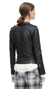 lyst rebecca taylor washed leather moto jacket in black