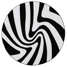 hr round black and white modern cabin area rug carpet