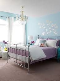 Suzie: Margot Austin - Blue & purple girl's bedroom design with blue walls  with silver