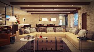 the appealing wooden beams inside rustic living room with long sofa chaise and simple side tables modern interior designs photos rustic living room appealing home interiro modern living room