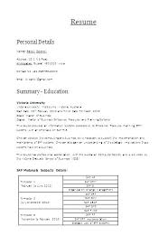 Sap Fico Sample Resume Sap Fico Sample Resume Best Of Sample Resume For Sap 1 Year Of