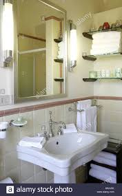 Bathroom Sink With Silver Taps White Tiles Shelves With White - Candles for bathroom