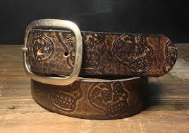 sugar skull vintage distressed aged leather belt handmade in usa