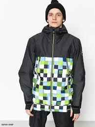 Mens Quiksilver Sierra Snowboard Jacket Check Atomic Green