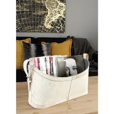 White Leather Magazine Holder Matte White Beige and Gray Real Leather with Fur Freestanding 14