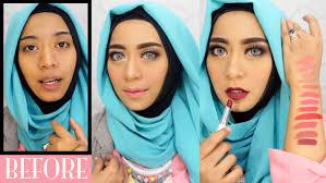 wardah one brand makeup tutorial natural simple swatches 12 lipstick wardah terbaru inivindy you