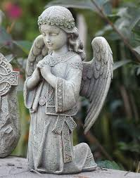 angel garden. kneeling celtic angel garden statue