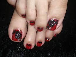 ネイル フット 赤 黒