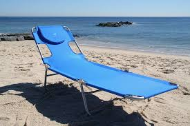 image of folding beach lounge chair with cushion