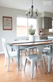 white dining room table. Light Blue Milk Painted Dining Table With Metal Chairs White Room