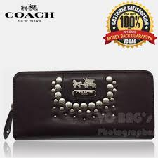coach f42915 studded patent zip around wallet coffee