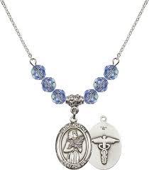 st agatha medical nurse swarovski crystal beaded patron saint necklace by bliss mfg