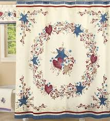 country hearts and stars berry check bathroom fabric shower curtain bath decor