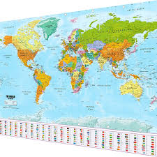 High Quality World Map Large World Map Xxl Poster With Flags And Banners Top Quality 140x100 Cm