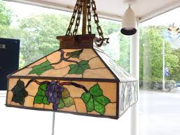 arts and crafts chandelier. An Arts And Crafts Style Leaded Glass Lantern Or Chandelier With Leaves Grapes,