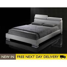 white faux leather bed. Plain Leather Signature White 5ft King Size Faux Leather Bed SIGB5WHT With E