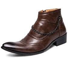 leisure zipper high top leather shoes for men