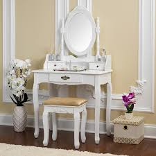 Fineboard Vanity Table Set Wooden Dressing Table with Single Mirror,  Organization Drawers Makeup Table & Stool - Free Shipping Today -  Overstock.com - ...
