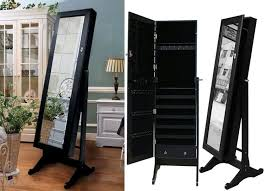 standing jewelry armoire with mirror awesome black mirrored jewelry cabinet armoire stand mirror necklaces