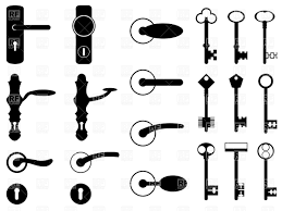 Silhouettes of antique door knobs, handles and old keys Royalty ...