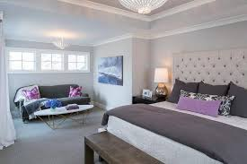 Purple And Gray Bedroom Features A Light Gray Ceiling And Walls Painted  Sherwin Williams On The Rocks Lined With A Light Gray Tufted Headboard On  Bed ...