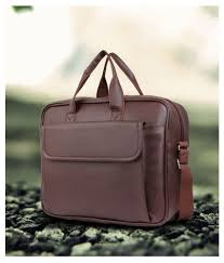 trouper brown p u leather laptop bag office bag sling bag for men women side bag