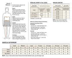 Mens Warehouse Size Chart Size Chart Click To Enlarge