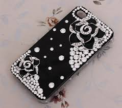 name bling crystal black alloy flower camellia diy cell phone case shell cover deco den kit