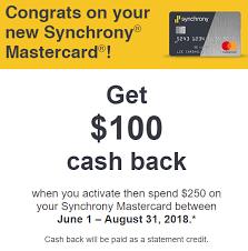 synchrony mastercard spending offer