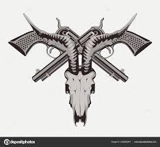 Vector Illustration Two Old Crossed Revolvers Skull Goat Detailed