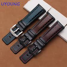 22mm genuine leather watch bands black bracelet with colour hole replacement leather strap with clasp