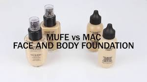 talking mac vs mufe face and body foundation