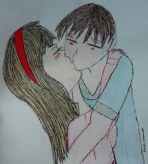 28 collection of cute couple kissing drawing