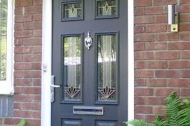 front door with stained glass panels