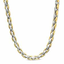 men s link necklace in polished two tone stainless steel
